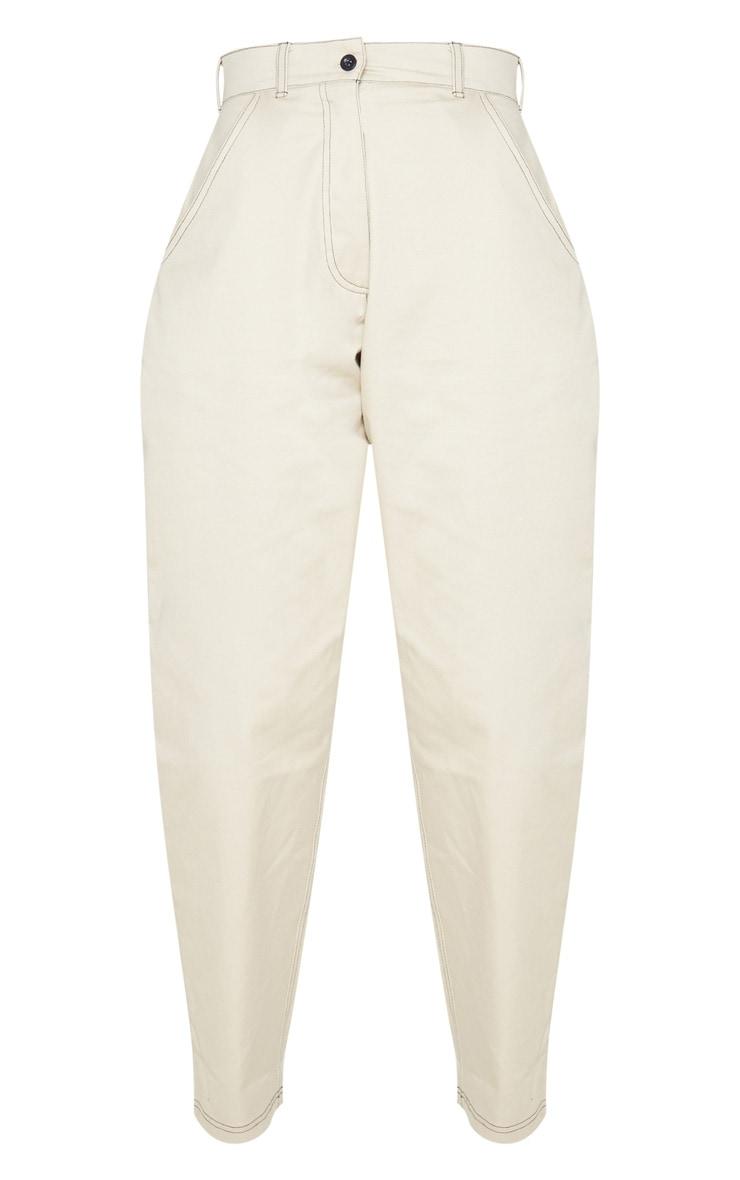Stone Contrast Stitch Cargo Trousers 3