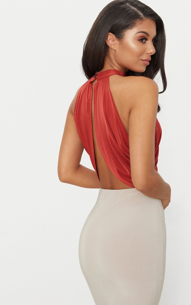 Spice Neck Wrap Open Back Crop Top 2