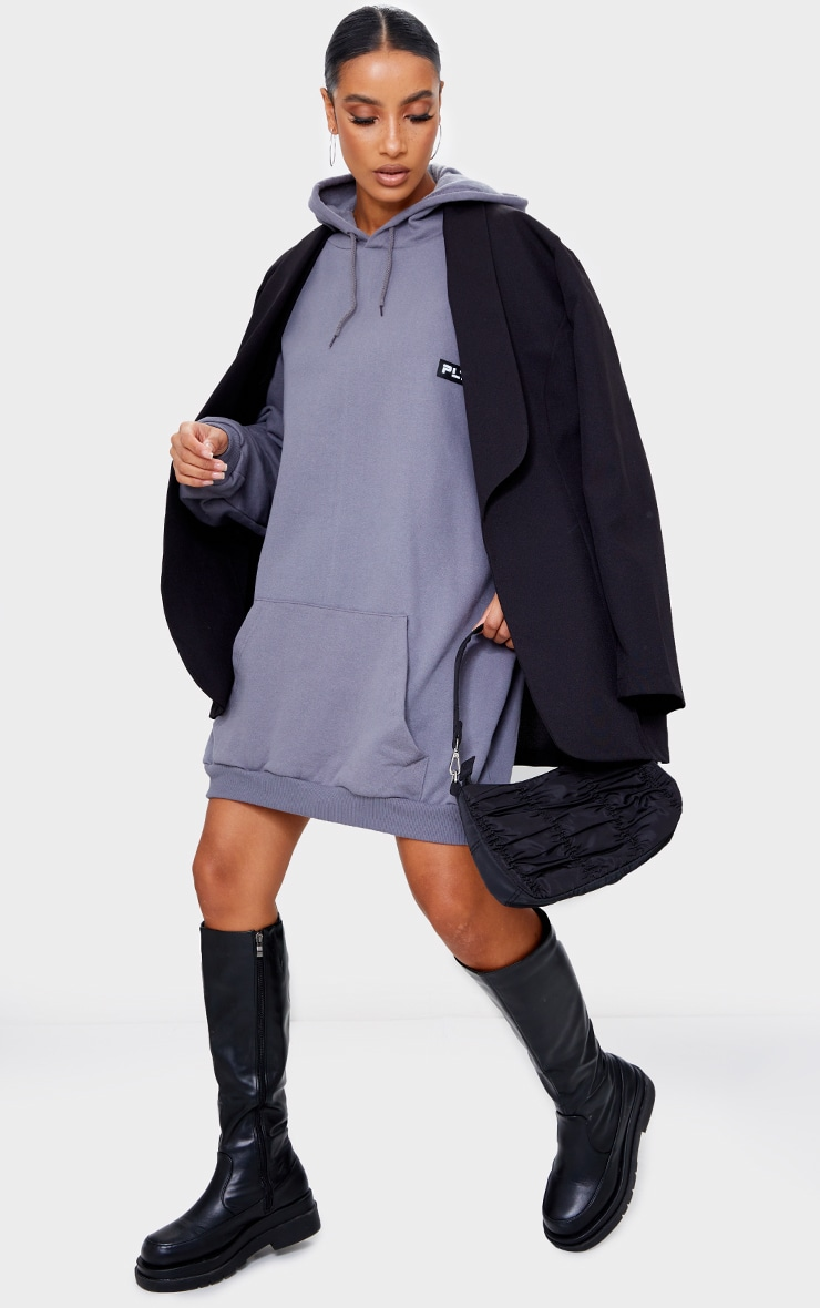 PRETTYLITTLETHING Charcoal Rubber Badge Oversized Sweater Dress 3