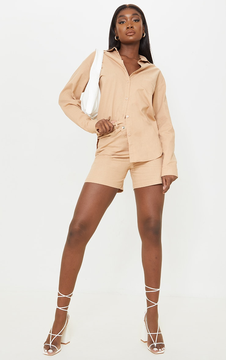Tall Stone Linen Look Asymmetric Shorts 1