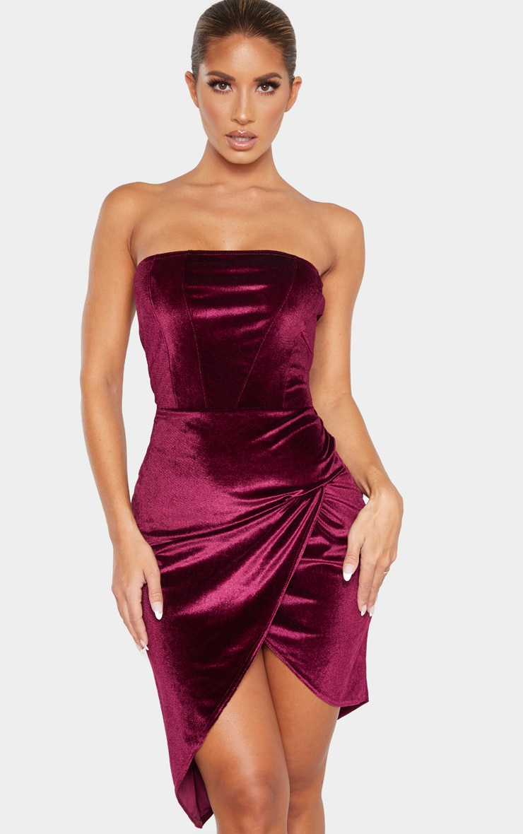 Burgundy Velvet Binding Detail Wrap Over Bandeau Bodycon Dress