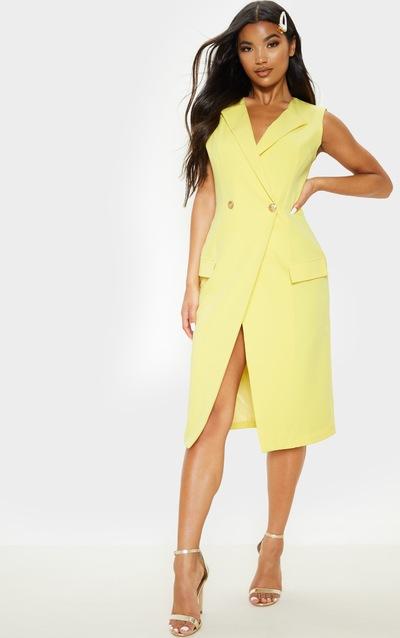 Yellow Sleeveless Gold Button Blazer Dress