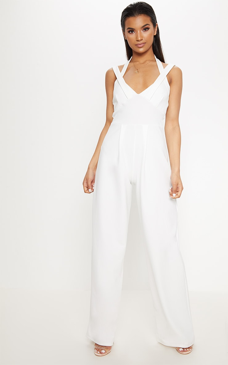 White Cross Strap Detail Jumpsuit 1