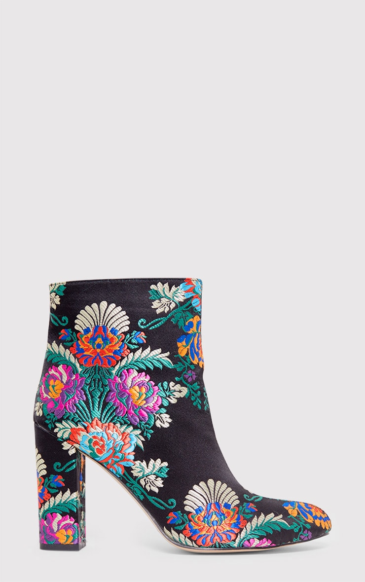 Valeria Floral Embroidered Ankle Boots 1