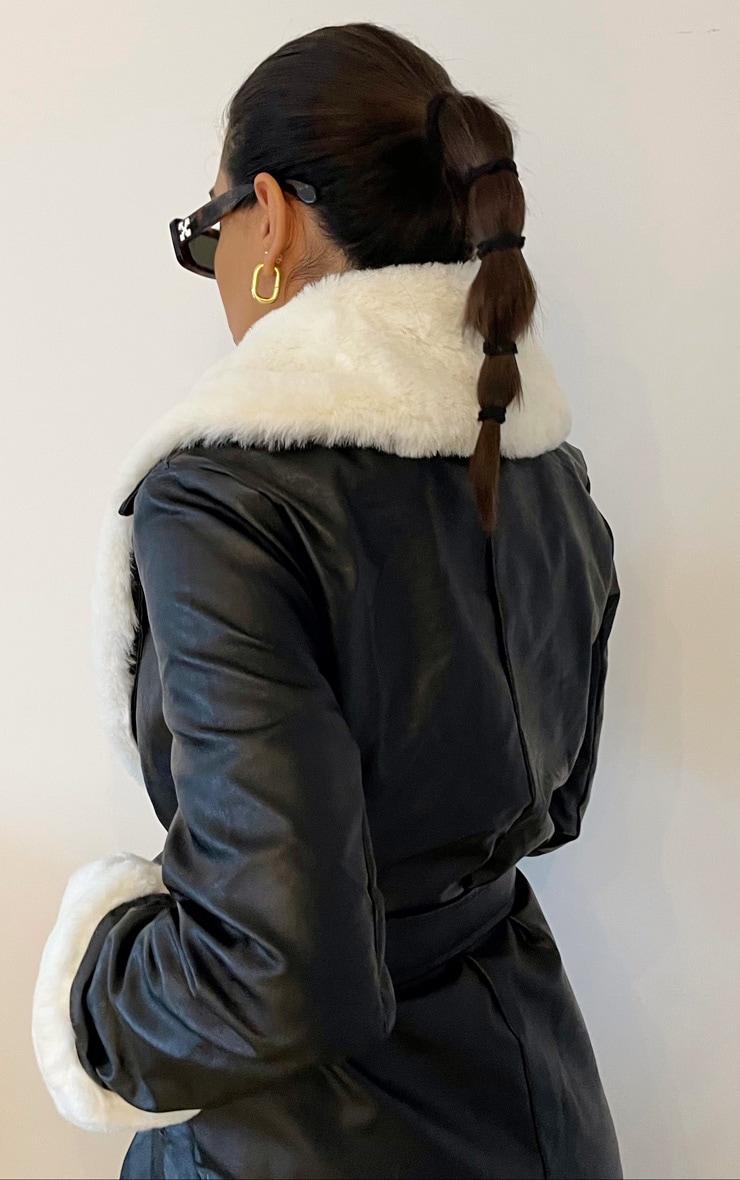 Black PU Detachable Faux Fur Midi Trench 2