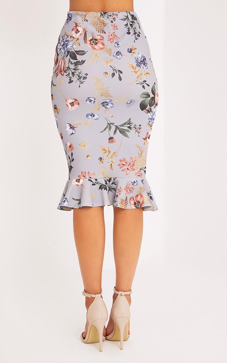 Alyson Grey Frill Hem Floral Midi Skirt 3