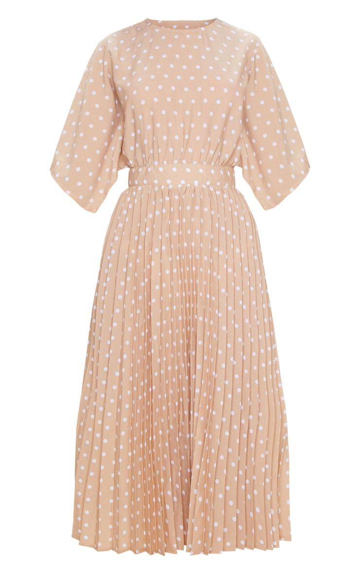 Nude Polka Dot Open Back Pleated Midi Dress 6