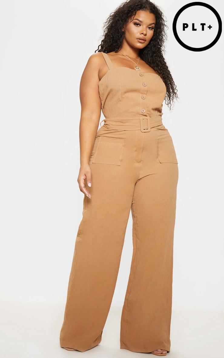 Plus Stone Woven Button Front Belted Jumpsuit 1