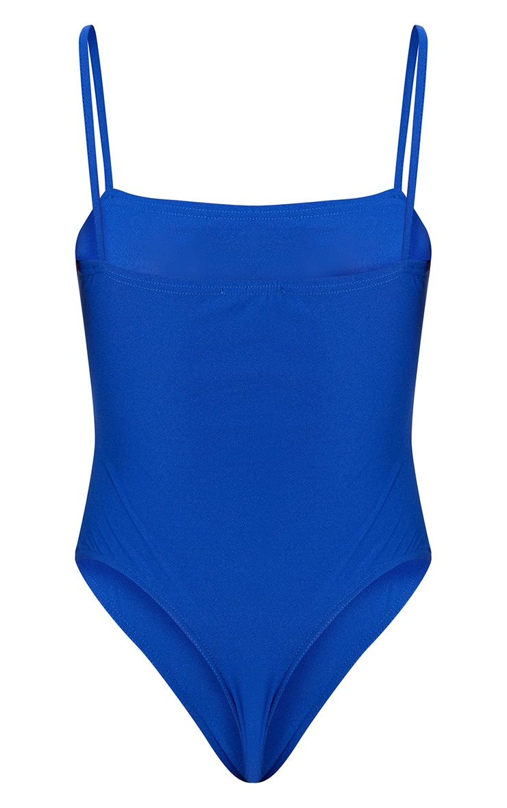 Cobalt Lace Up Square Neck Strappy Thong Bodysuit 4