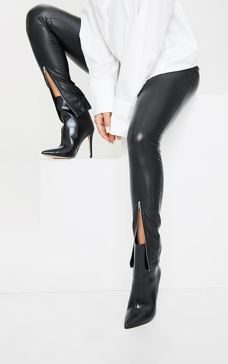 Black Wide Fit Mid Heel Pointed Ankle Boots 1