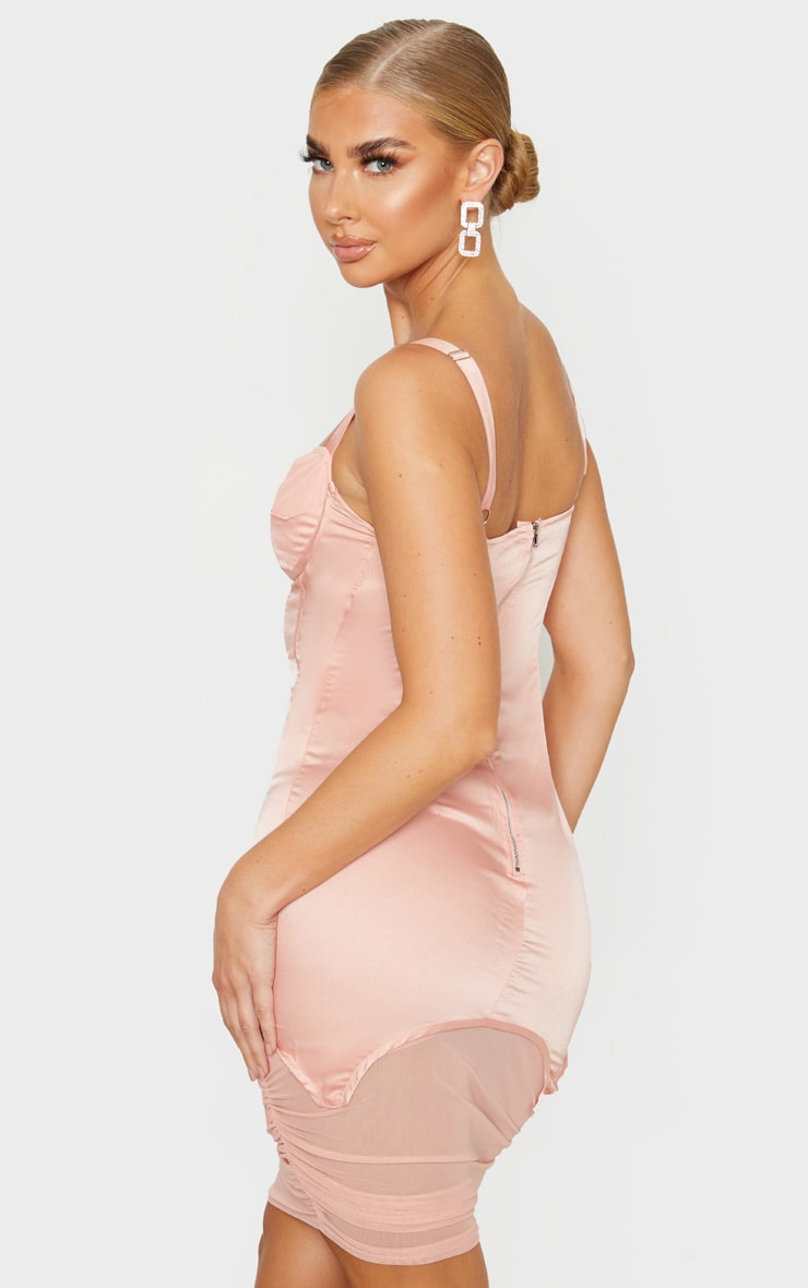 Blush Satin Corset Detail Mesh Insert Midi Dress 2