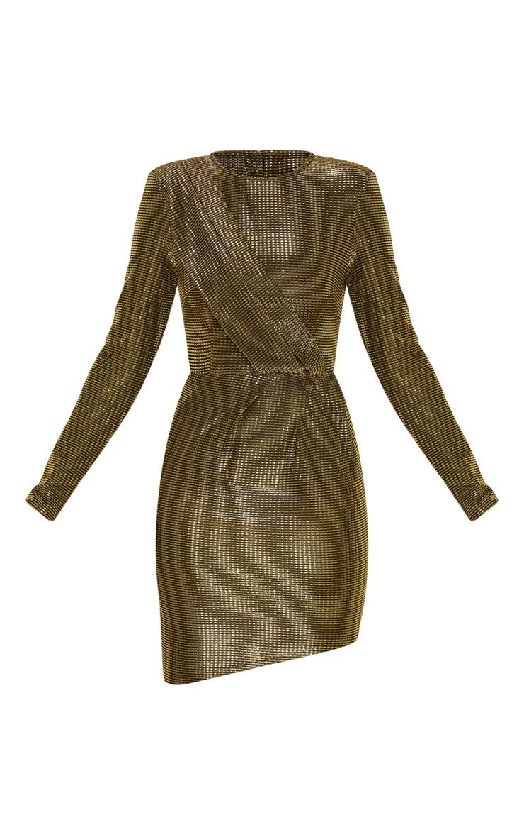Gold Metallic Glitter Long Sleeve Drape Detail Bodycon Dress 3