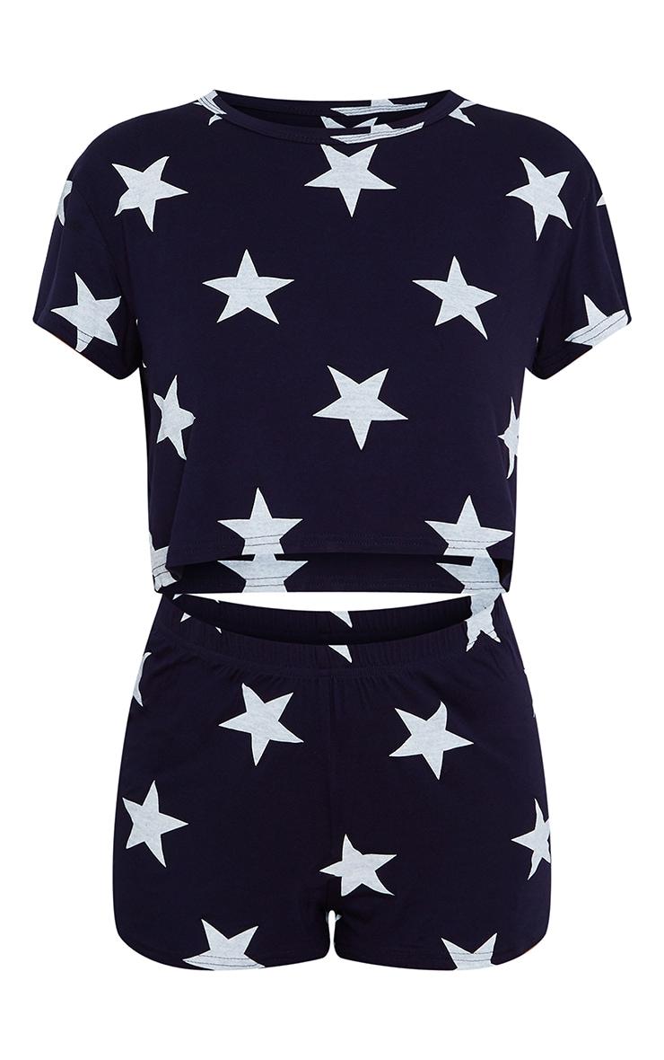 Navy With White Stars Printed Short PJ Set 5