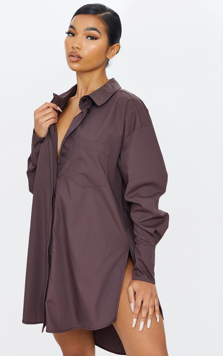 Chocolate Poplin Split Side Detail Shirt Dress 1