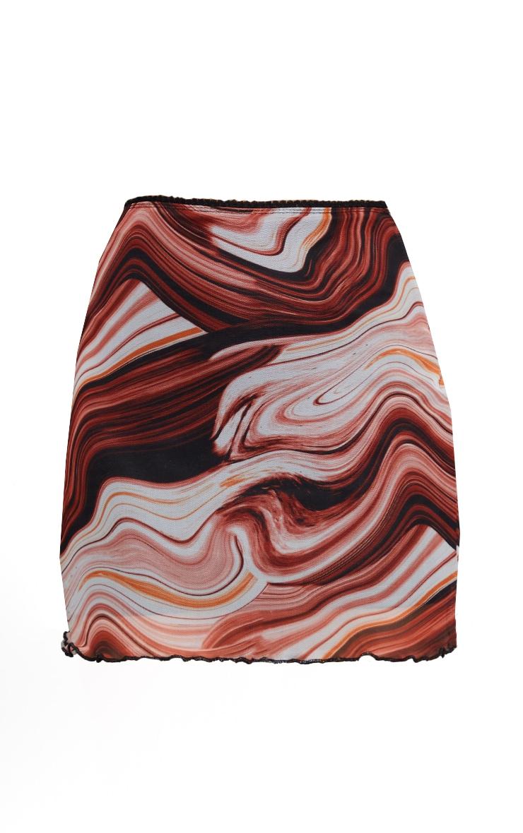 Brown Marble Print Mesh Lettuce Hem Skirt 6