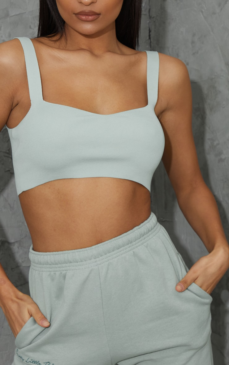 Sage Green Ribbed Bandage Knitted Strappy Top 4