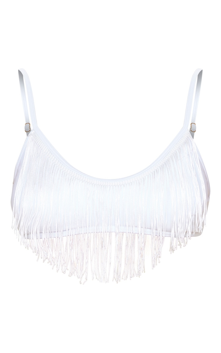 White Fringe Scoop Neck Bikini Top 3