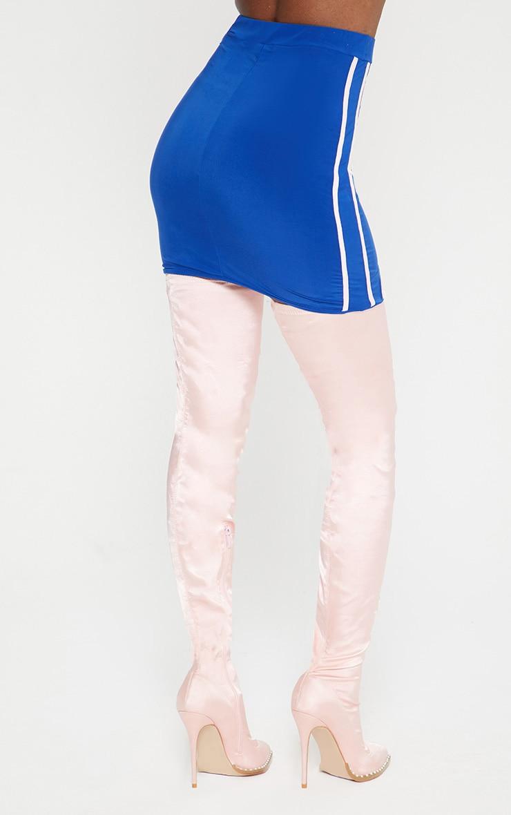 Cobalt Blue Slinky Sports Stripe Mini Skirt  4