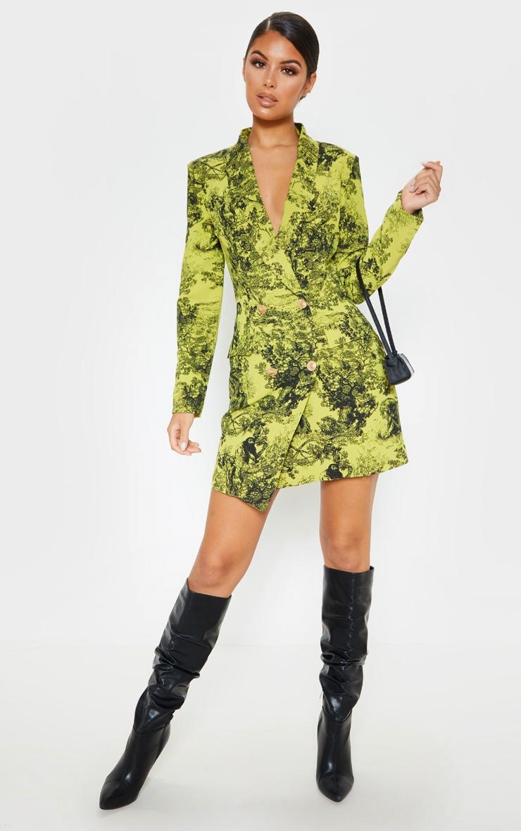 Lime Tiger Jungle Print Black Button Blazer Dress 4