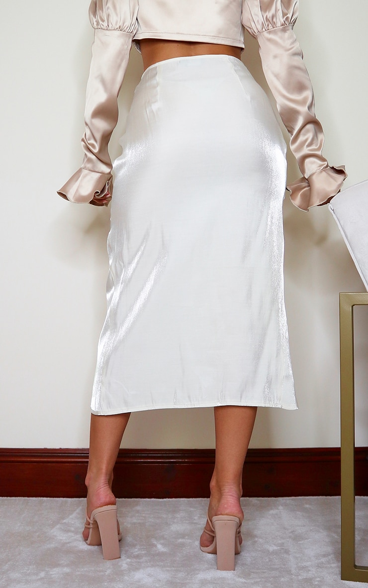 Cream Satin Shimmer Twist Front Midi Skirt 3