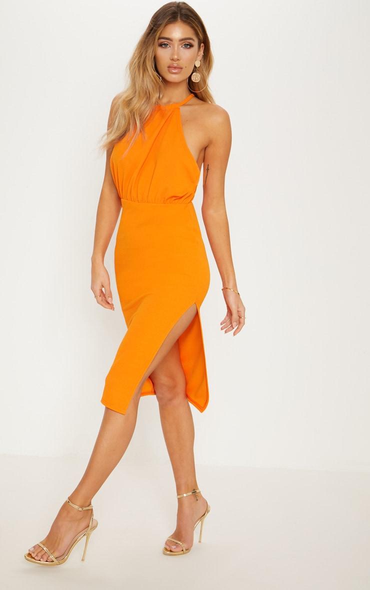 Bright Orange Halterneck Midi Dress 3