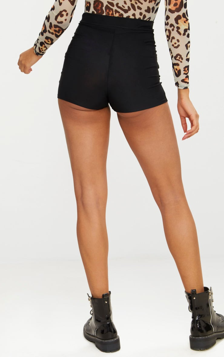 Black Disco Lace Up Front Hot Pants  3