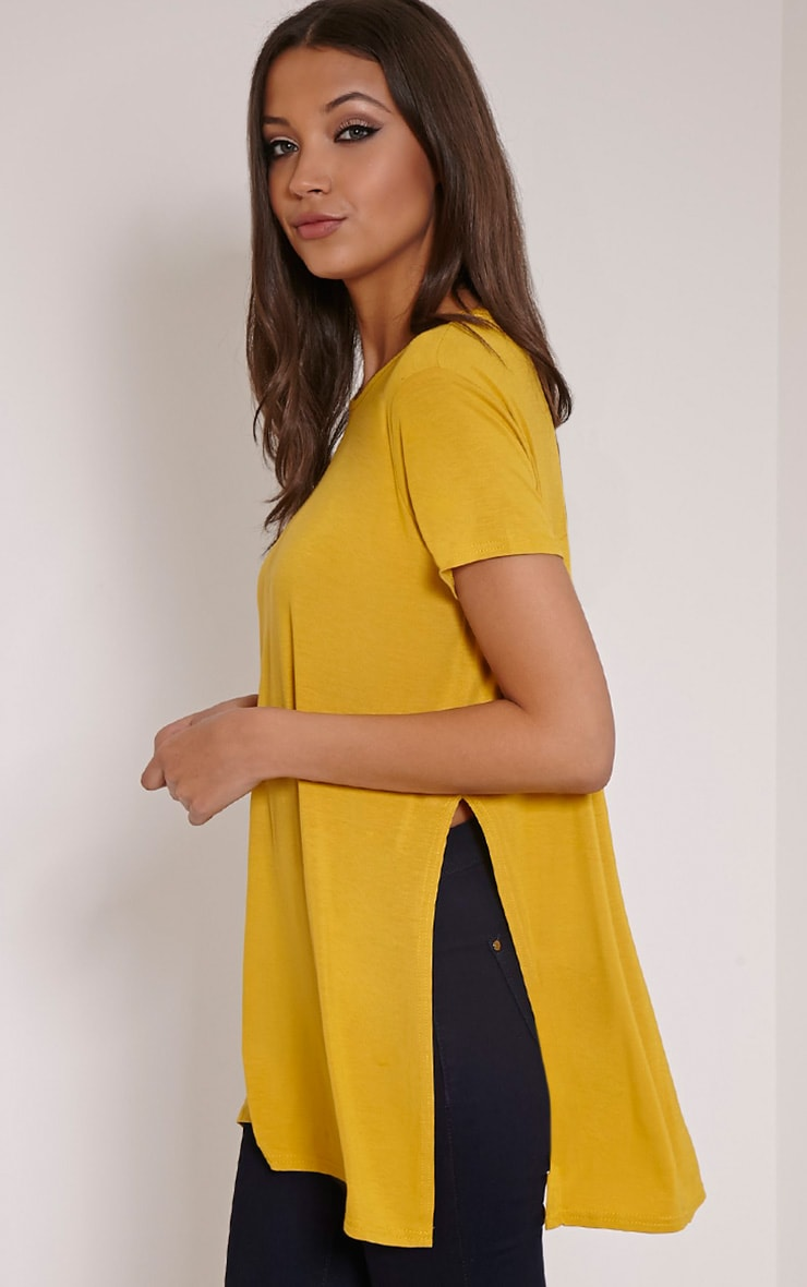 Basic Mustard Side Split T-Shirt 3