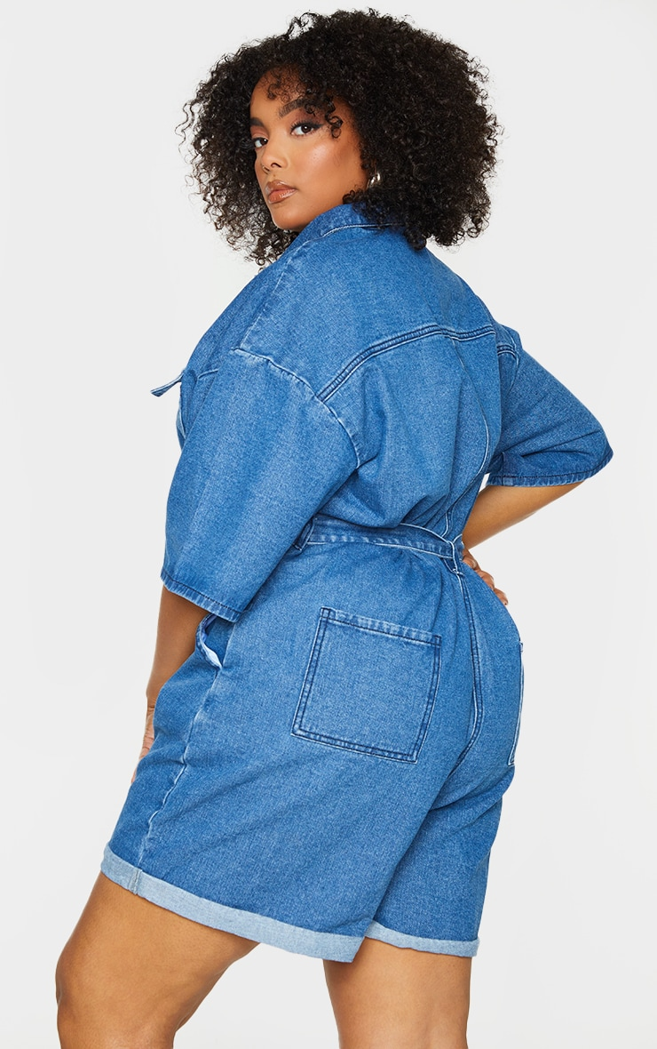 Plus Blue Wash Shorts Denim Playsuit 2