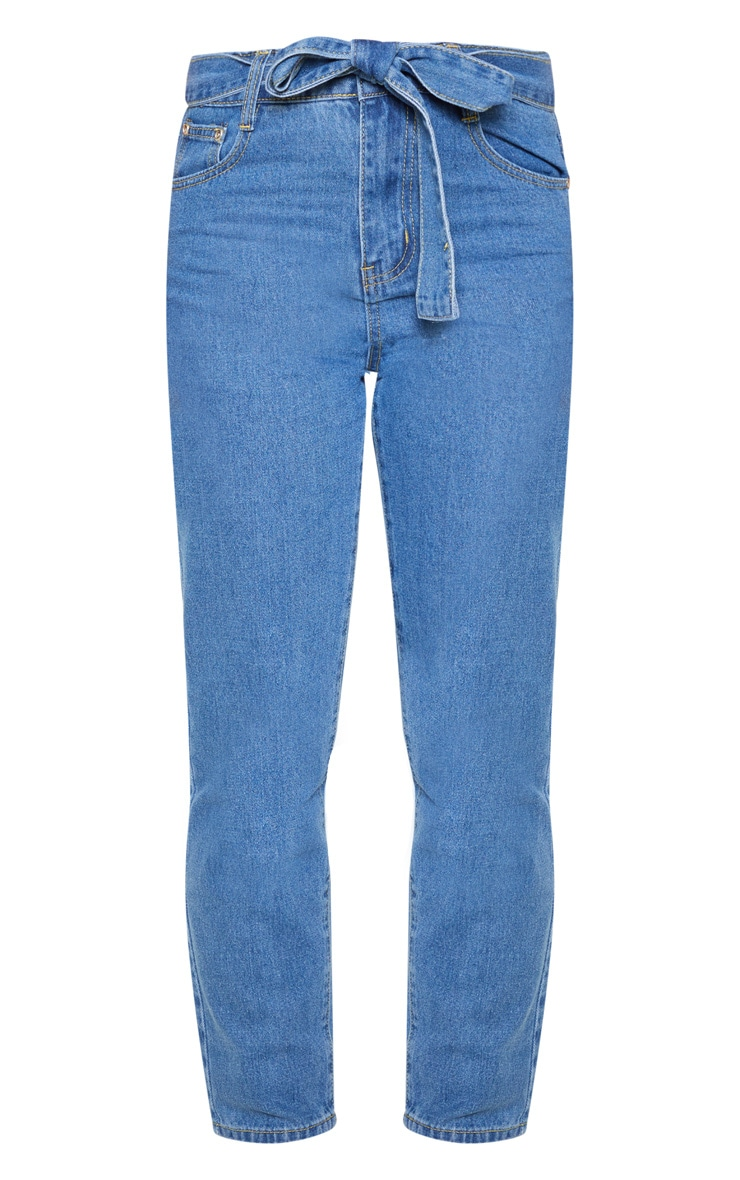 Petite Mid Wash Straight Leg Tie Belted Jeans 3