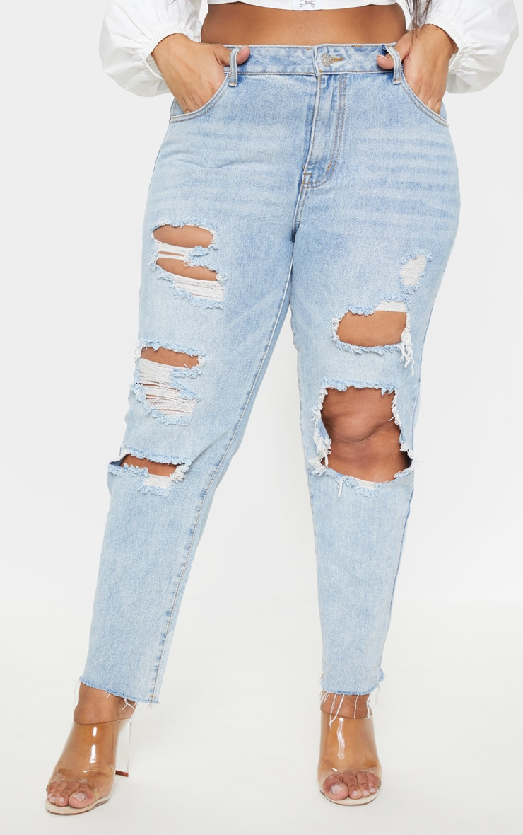 Plus Light Wash Extreme Distressed Mom Jean 2