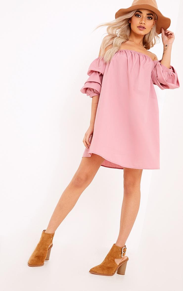 Lucinndar Cotton Ruched Bardot Sleeve Shift Dress Pink 4