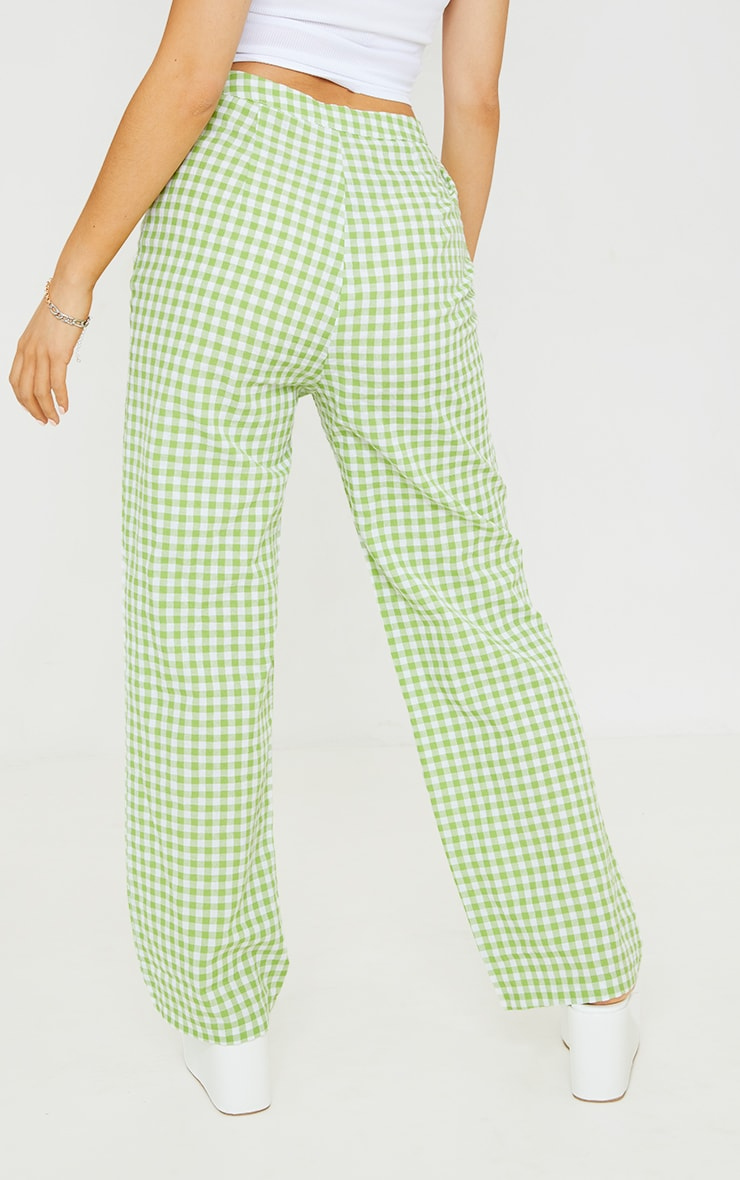 Petite Green Gingham  Cut Out Waist Band Detail Trousers 3
