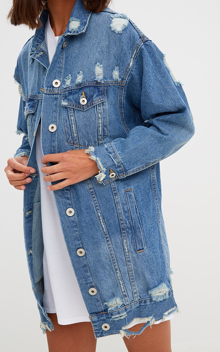 Mid Wash Longline Distressed Denim Jacket 5