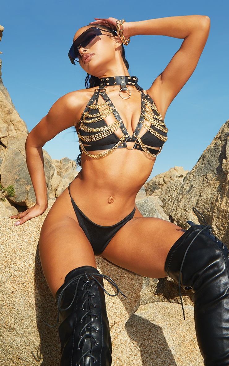 Black Faux Leather And Gold Chain Bra Harness 1