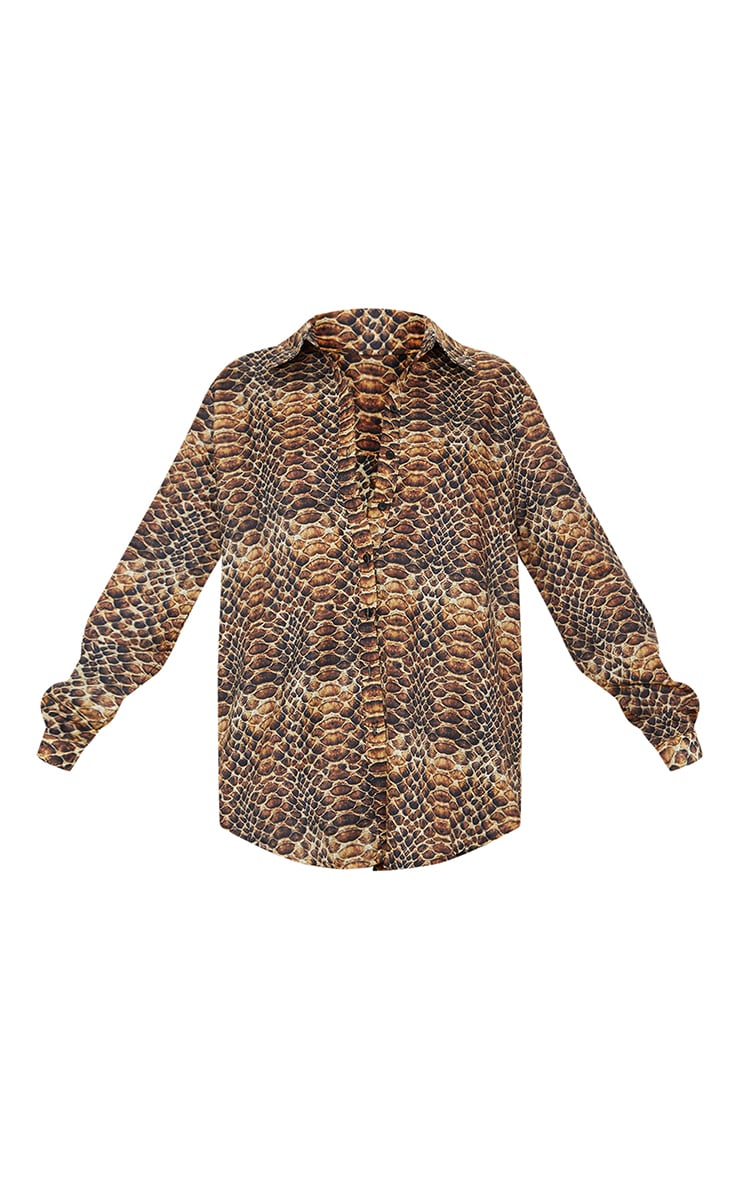 Brown Snakeskin Print Oversized Shirt 5