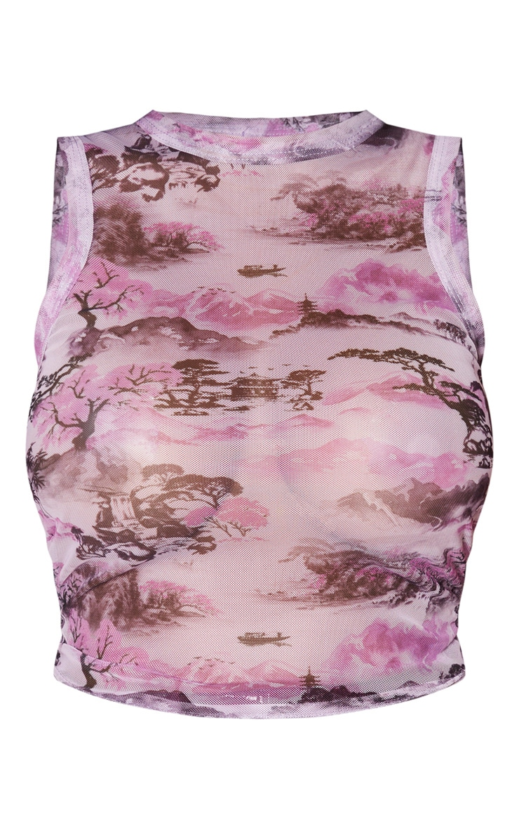 Shape Lilac Oriental Print Mesh Ruched Side Sleeveless Crop Top 3