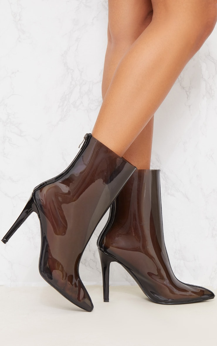 Black Clear Pointed Zip Back Heeled Boot 2