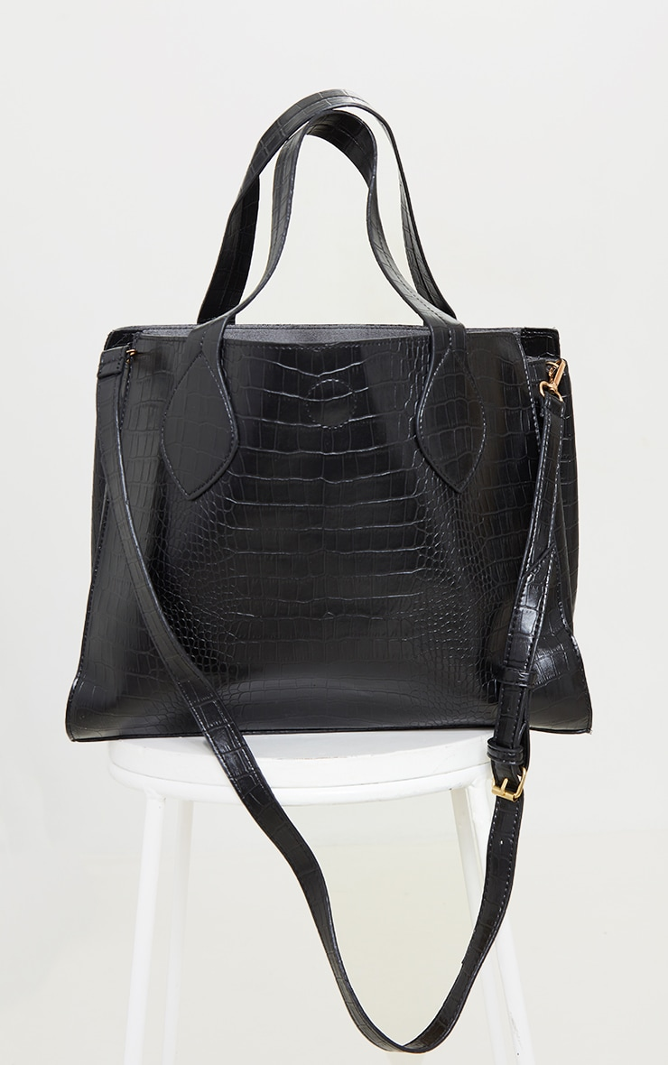 Black PU Croc Tote Bag 2