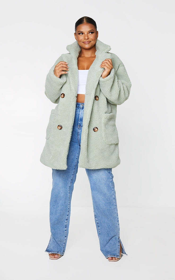PLT Plus - Manteau mi-long en imitation peau de mouton vert sauge 1