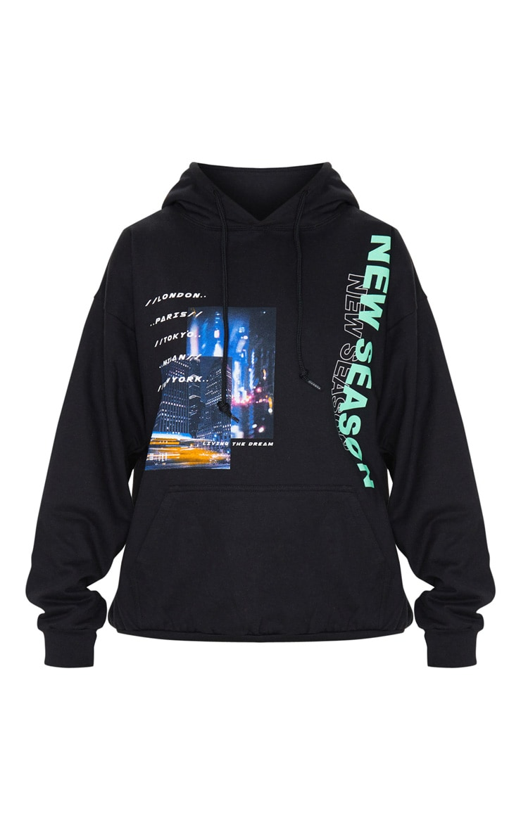 Hoodie oversize noir à imprimé New Season City 5