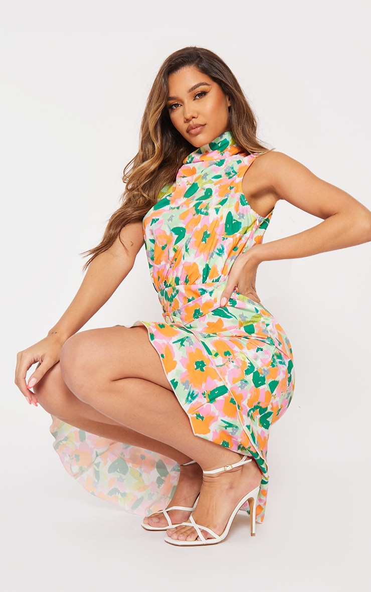 Green Floral Belted Asymmetric Frill Hem Midi Dress 1
