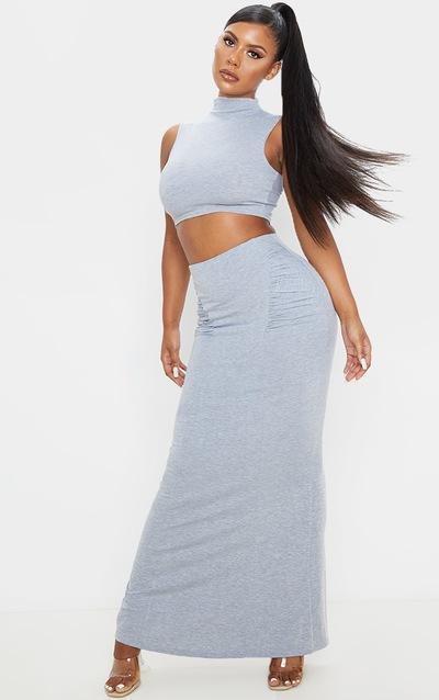 Grey Jersey Ruched Seam Midaxi Skirt