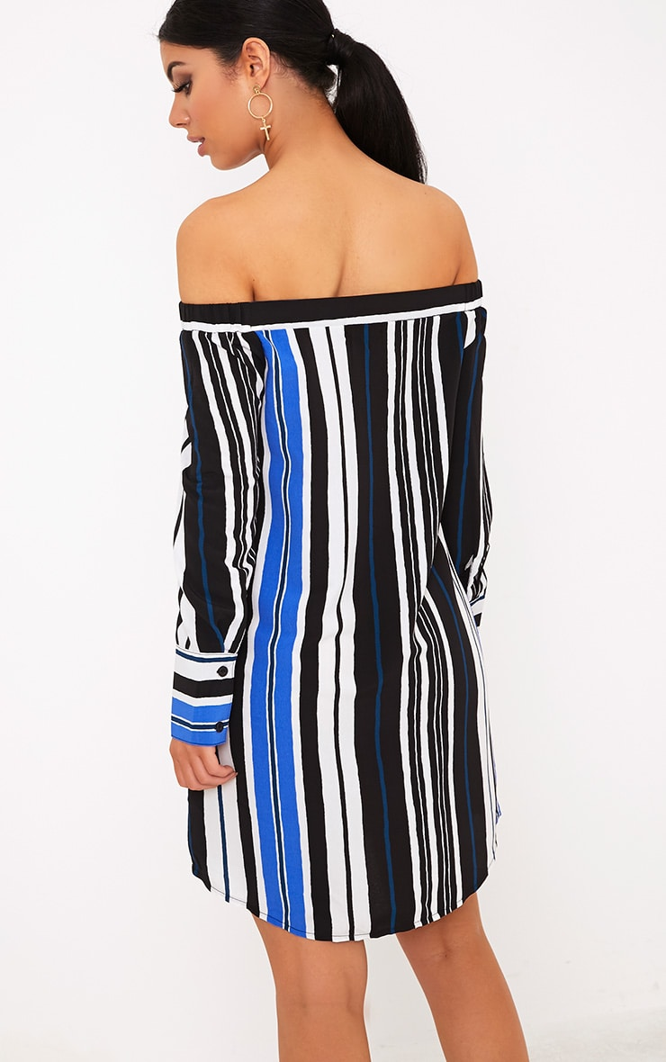 Belinda Blue Striped Long Sleeve Bardot Shift Dress 1