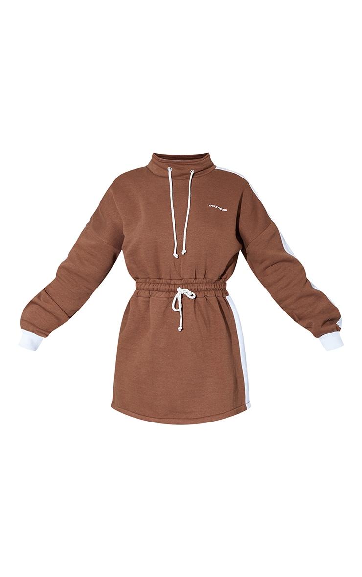 PRETTYLITTLETHING Chocolate Contrast Drawstring Sweat Jumper Dress 5