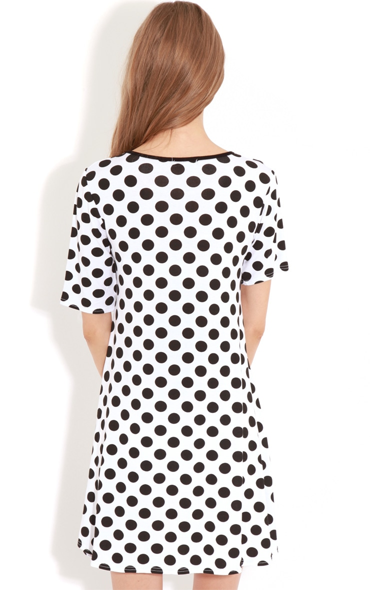 Ruth White Spot Swing Dress 2