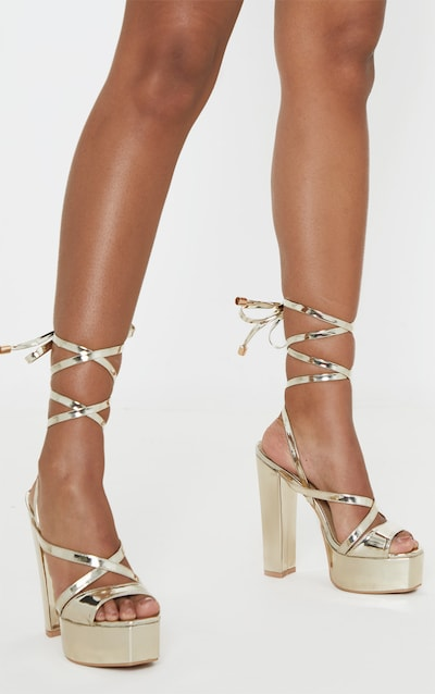 Gold Patent Double Platform Strappy Sandals