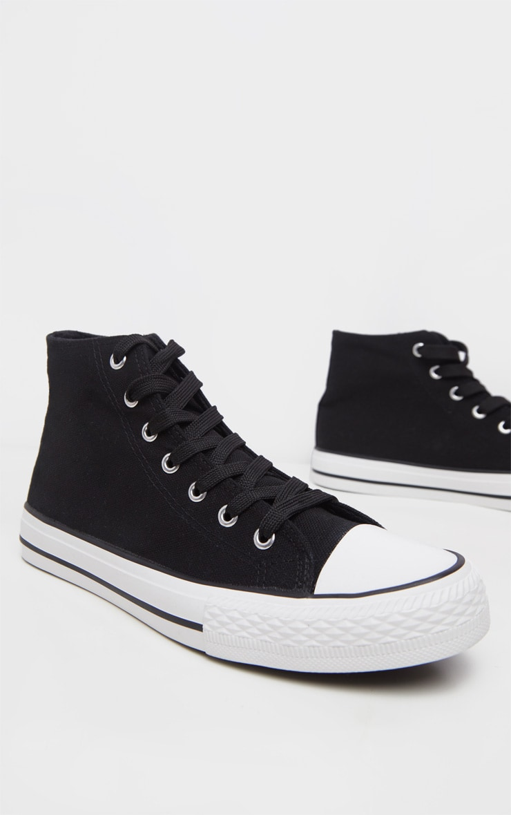 Black High Top Canvas Sneakers