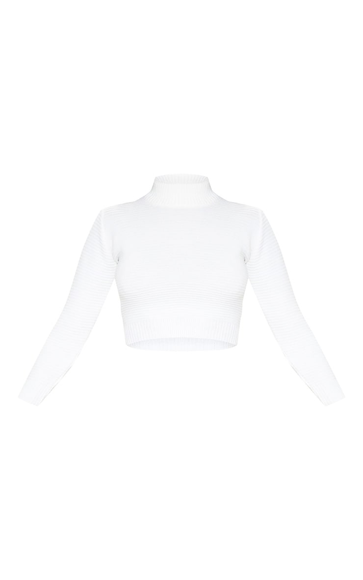Cream Ribbed Crop Knitted Jumper  3