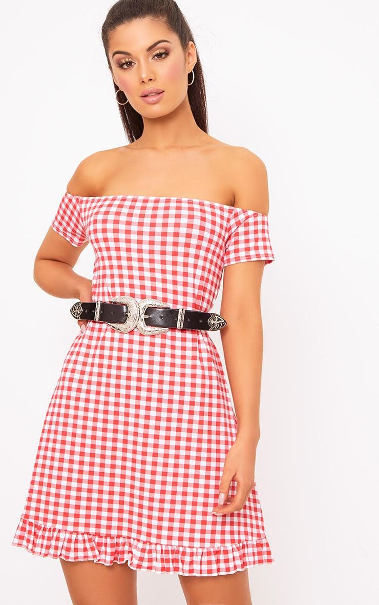 Red Gingham Bardot Frill Hem Swing Dress  1