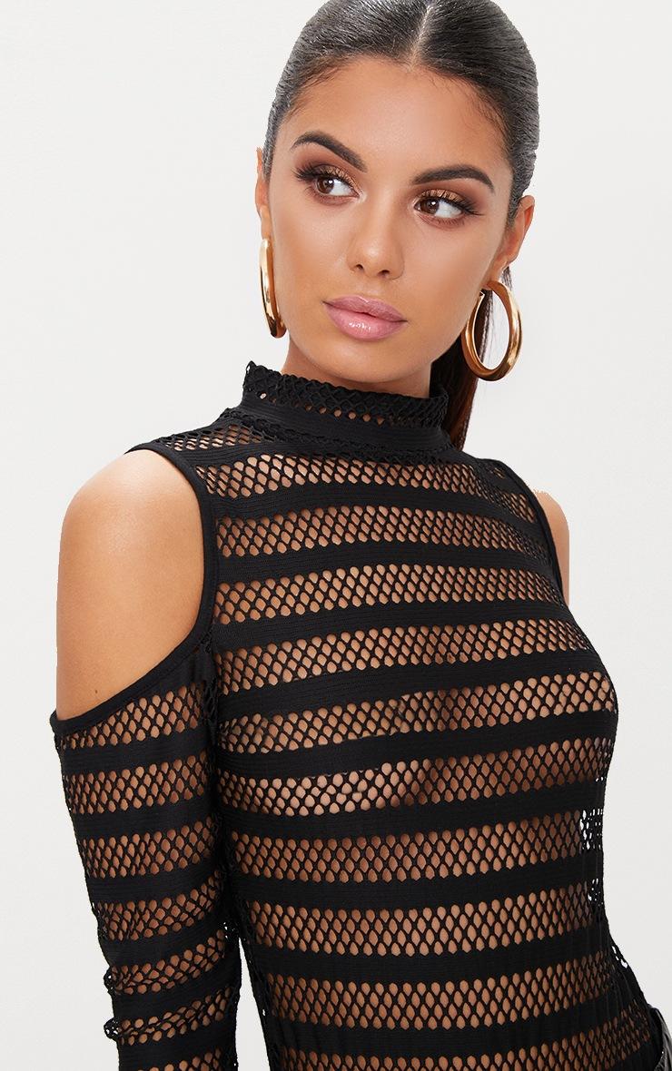 Black Fishnet Cold Shoulder Thong Bodysuit  6